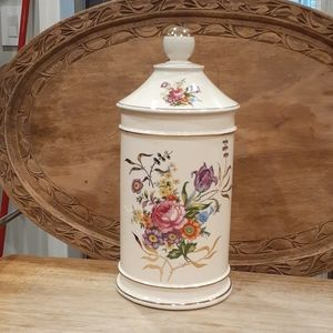 MADE IN FRANCE TALL ANTIQUE PORCELAIN CANISTER
